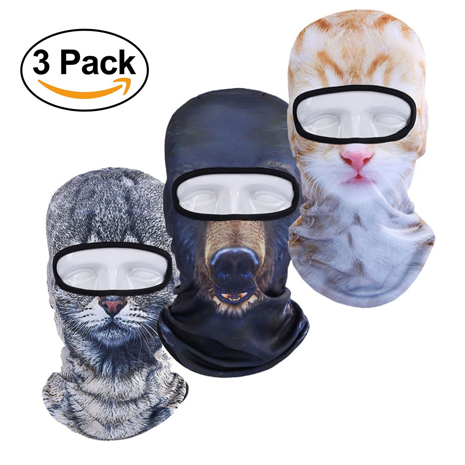 3 Pack Funny 3D Animal Balaclava Face Mask Breathable Windproof UV Protection for Cycling Ski Hunting Halloween Party