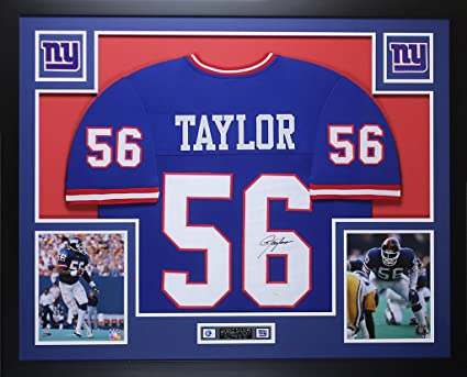 53ce24502 Lawrence Taylor Autographed Blue New York Giants Jersey - Beautifully  Matted and Framed - Hand Signed