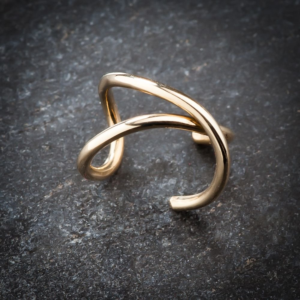 FreshTrends 14K White Gold Criss Cross X Band Gold Ear Cuff by FreshTrends (Image #4)