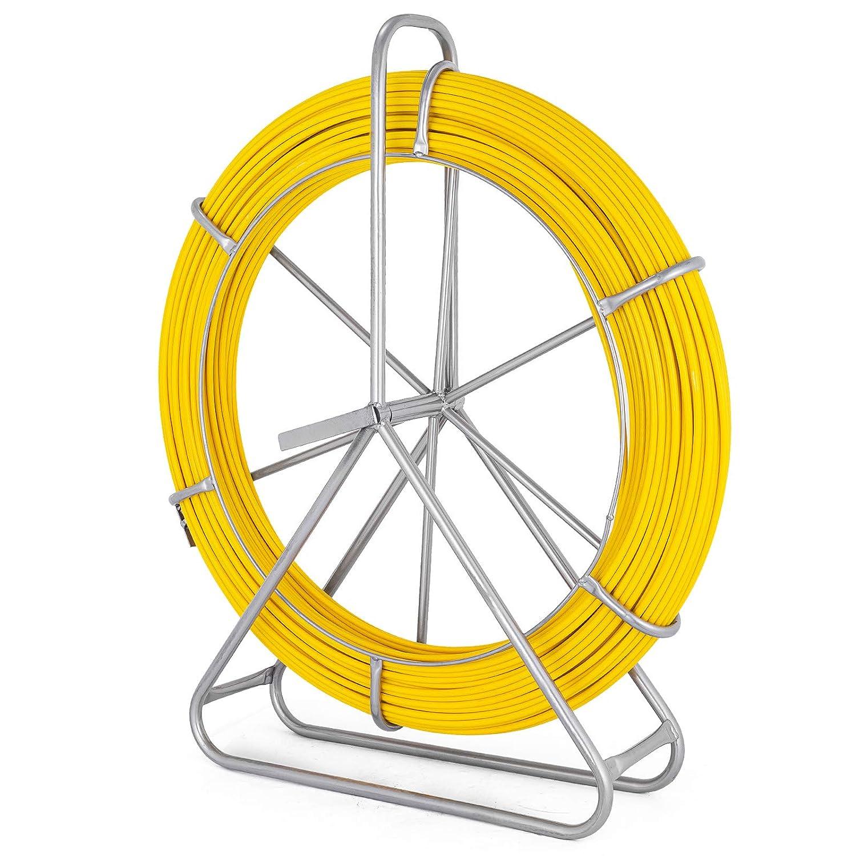 Moracle Cable de Fibra de Vidrio Electraline 8 mm y 49 mm en Fibra de Vidrio Continua con Soporte para Jaula y Rueda 492FT