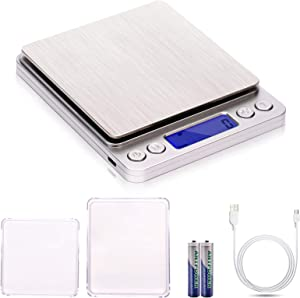 Digital Kitchen Scales,USB Charging, 3Kg/0.1g Mini Food Scales, Electric Cooking Scales, Waterproof Digital Scale USB Rechargeable,LCD Display, Stainless Steel