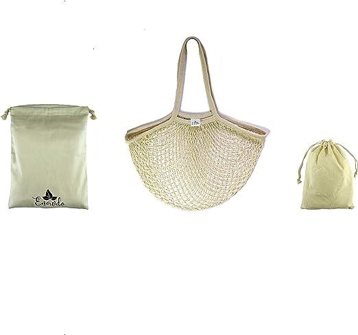 Enowdo Pack 1 Bolsa de Malla Red con Asas Largas + 2 Sacos con Cuerda de algodón para Compra, Almacenaje, Playa o Colada de Ropa Sucia Viaje,Reutilizables, Lavables y Ecológicas.: Amazon.es: Hogar