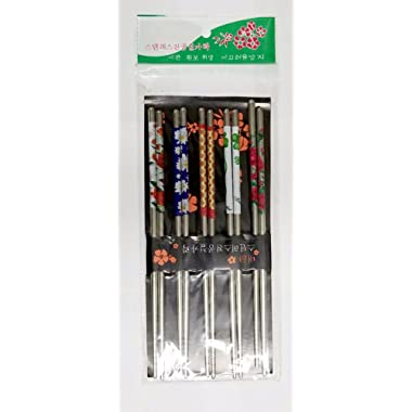 Chopsticks 5 Pairs Stainless Steel Chopsticks Beautiful Gift Set (10 Chop Sticks) Assorted
