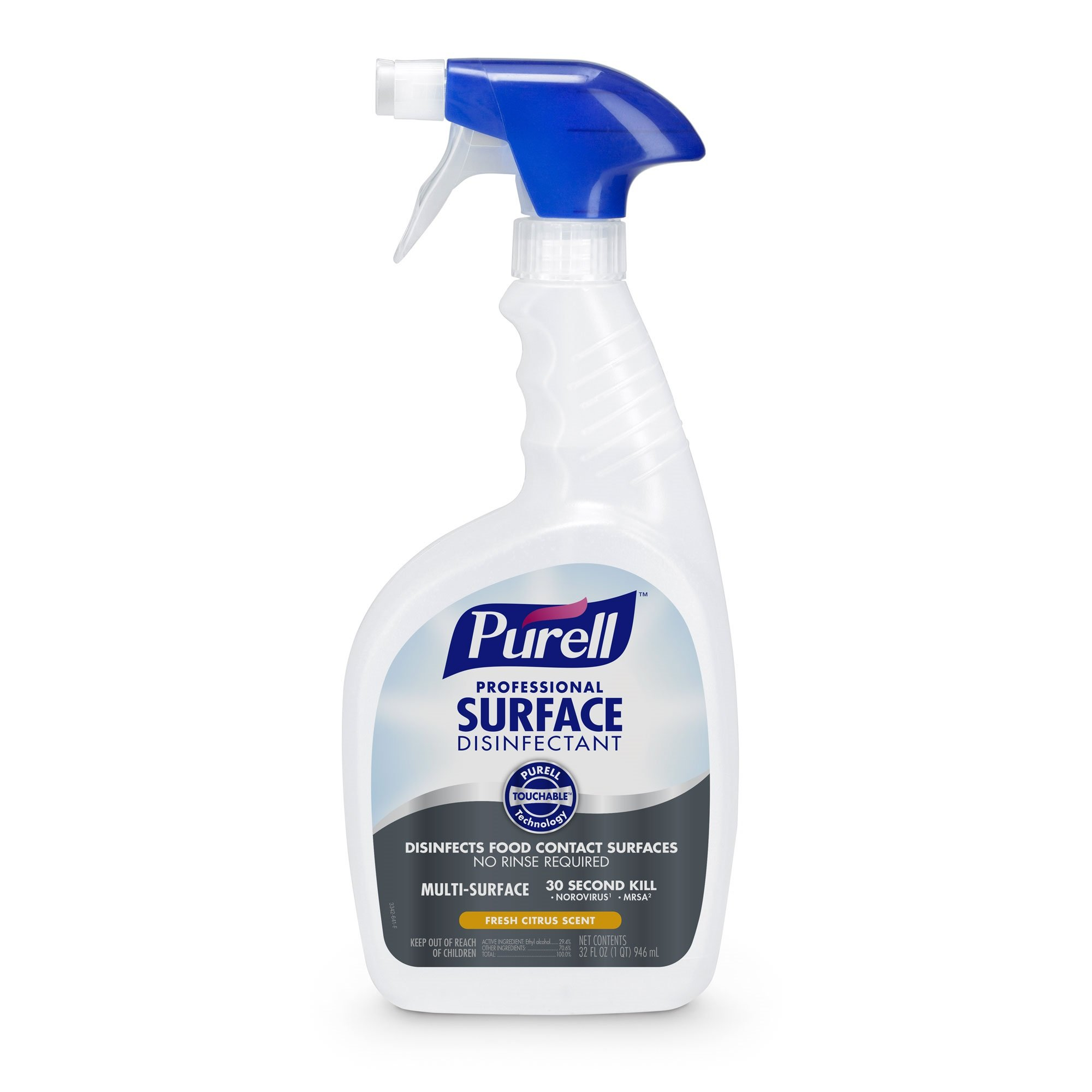 PURELL Professional Surface Disinfectant Spray, Fresh Citrus Scent, 32 fl oz Capped, Trigger Sprayer Bottles (Pack of 3) - 3342-03