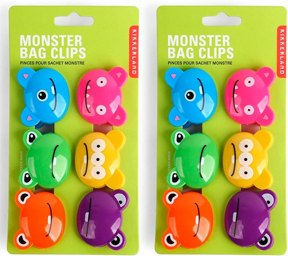Kikkerland Monsters Bag Clips, 2-Pack (12 Clips in Total)