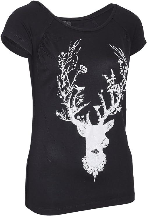 geweih elch weihnachten Damen T-Shirt HIRSCH S bis XL Schwarz//Weiss