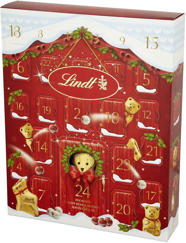 Red Lindt Teddy Bear 24 Days Luxurious Chocolate Advent Calendar 250 g