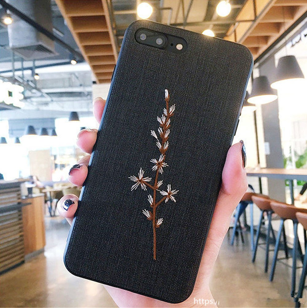 iPhone 7 Plus Case, iPhone 8 Plus Case, Embroidered Phone Case for iPhone 7 Plus/iPhone 8 Plus with Light Weight Ultra Slim TPU Materials and Protective Design Tree Branch(Black)