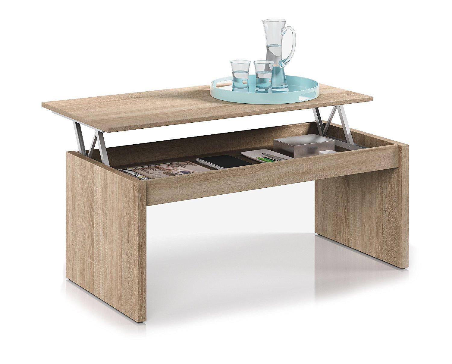 Fabulous habitdesign f table basse chne naturel avec for Table basse relevable