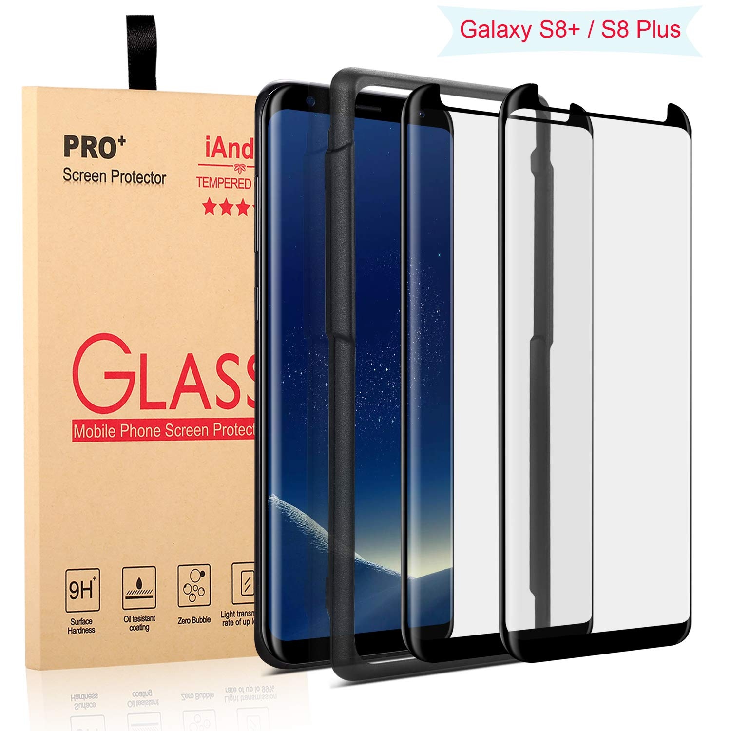 [2-PACK] Galaxy S8 Plus Screen Protector Glass [Easy Installation Tray], iAnder 3D Curved [Tempered Glass] Screen Protector for Galaxy S8 Plus S8+ [Case Friendly] by iAnder