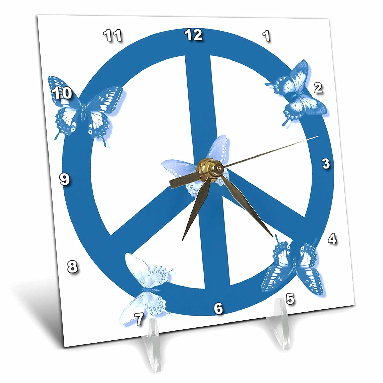 dc/_40231/_1 6x6 Desk Clock Deep Aqua Blue Butterflies Peace Sign- Inspirational Art 3dRose Patricia Sanders Creations