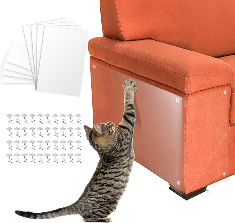 Pidsen Protector de Muebles Gatos, 8PCS Transparente Autoadhesivas contra Arañazos de Gato Protector con 40 Tornillos Rascador para Gatos y Perro, Protector de sofá para Detener: Amazon.es: Productos para mascotas