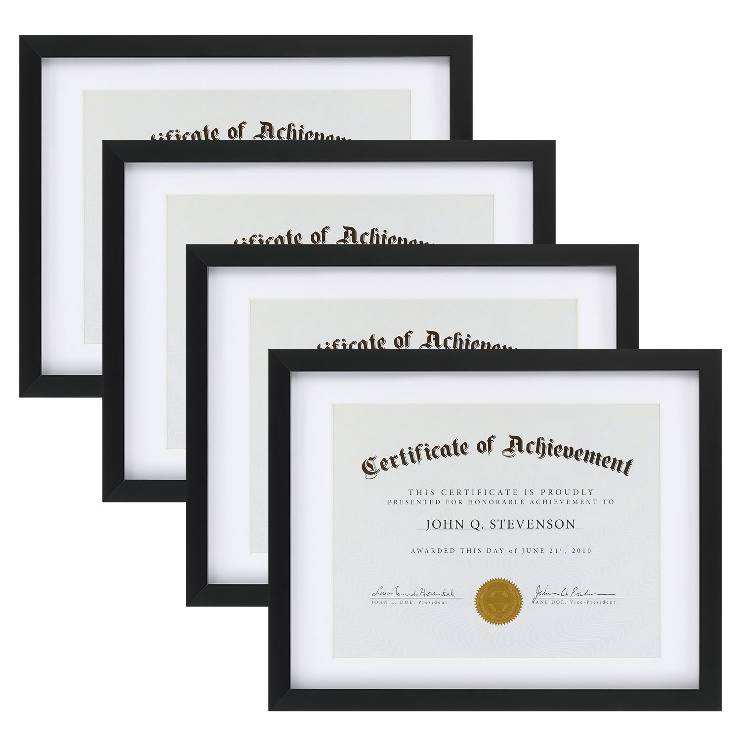 ONE WALL Tempered Glass 4PCS 11x14 Document Frame with 1 Mat for 8.5x11 Documents Certificate Diploma, Black Wood Picture Photo Frame - Mounting Hardware Included