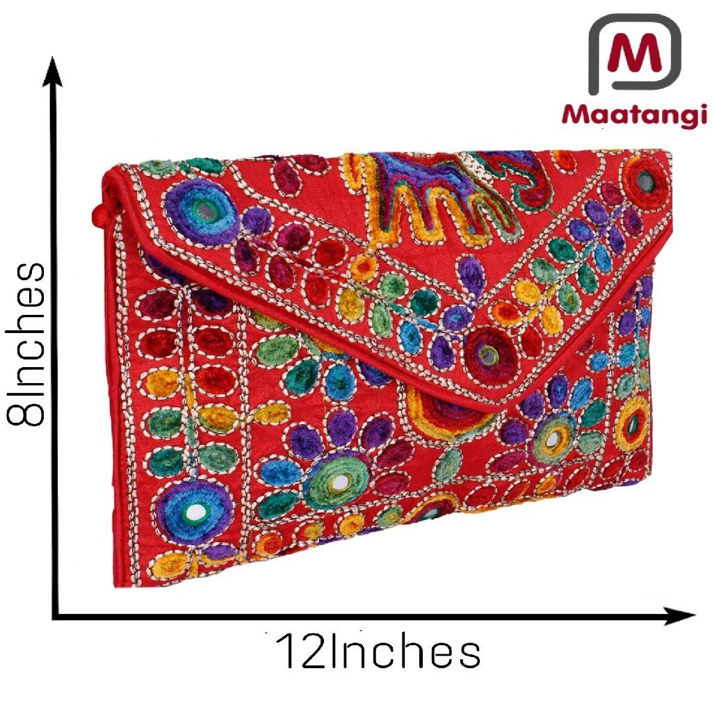 Red Women Banjara Clutch Bag In Rajasthani Style Magenatic Closure Foldover Clutch Purse-Quality Checked