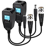 VIMVIP HD-CVI/TVI/AHD Passive Video Balun with Power Connector and RJ45 CAT5 Data Transmitter 1 Pair (2 Pack)