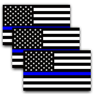 Anley 5 X 3 inch Thin Blue Line US Flag Decal - Black White and Blue Reflective Stripe American Flag Car Stickers - Support Police and Law Enforcement Officers (3 Pack): Automotive