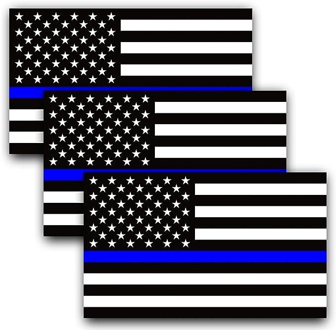 Anley 12 X 7 centímetros Línea Azul Bandera de EE. UU. - Negro Blanco y Raya Azul Reflectante Bandera de Estados Unidos de América Pegatinas para Auto (Paquete de 3): Amazon.es: Coche y moto