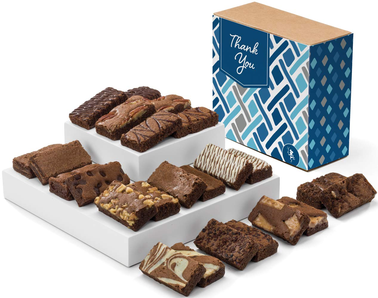 Fairytale Brownies Thank You Sprite 24 Gourmet Chocolate Food Gift Basket - 3 Inch x 1.5 Inch Snack-Size Brownies - 24 Pieces - Item CY224