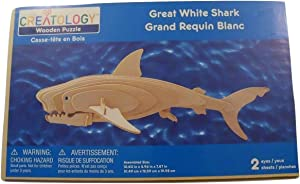 Creatology 3D Wooden Puzzle ~ Great White Shark (2 Sheets, 2 Eyes)