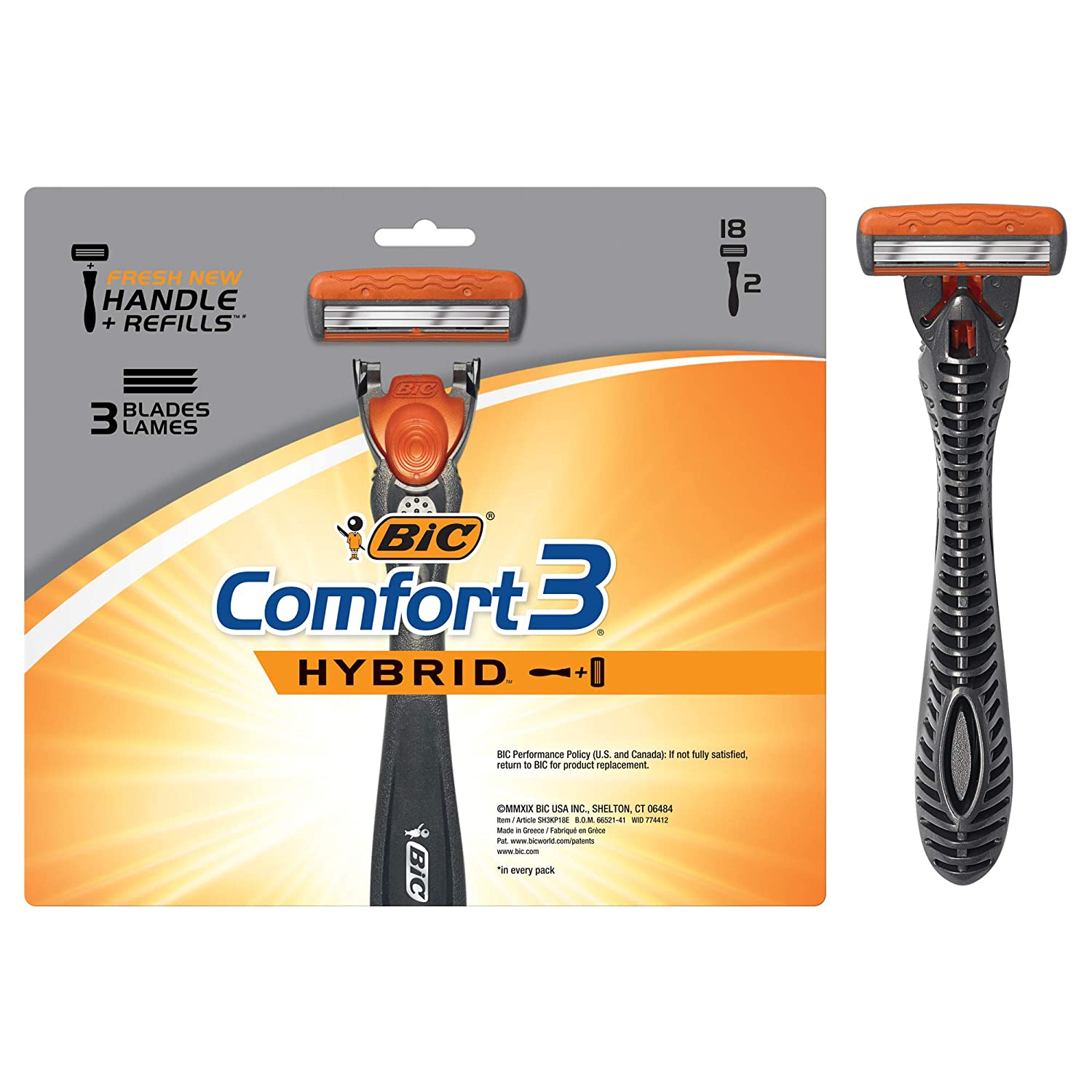 BIC Comfort 3 Hybrid Men's 3-Blade Disposable Razor, 2 Handles and 18 Cartridges