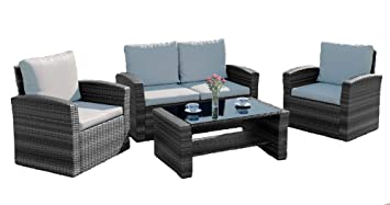 Astounding Abreo Grey 4 Seater Garden Rattan Sofa Armchair Includes Rain Cover Set With Coffee Table Wicker Weave Conservatory Dark Mix Grey With Light Home Interior And Landscaping Eliaenasavecom
