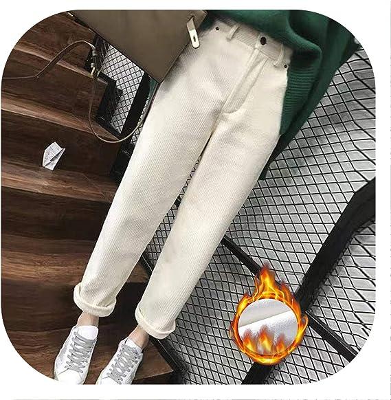 Pilotageauto Pants Pantalones Harem De Invierno Para Mujer Informales De Pana Y Terciopelo Beige White Velvet S Amazon Com Mx Ropa Zapatos Y Accesorios