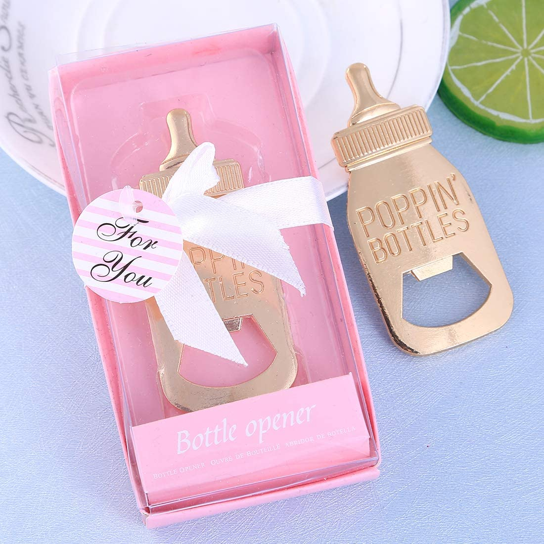 Yuokwer 24 pcs Bottle Opener Baby Shower Favor for Guest,Rose Gold Feeding Bottle Opener Wedding Favors Baby Shower Giveaways Gift to Guest, Party Favors Gift & Party Decorations Supplies (Pink, 24)