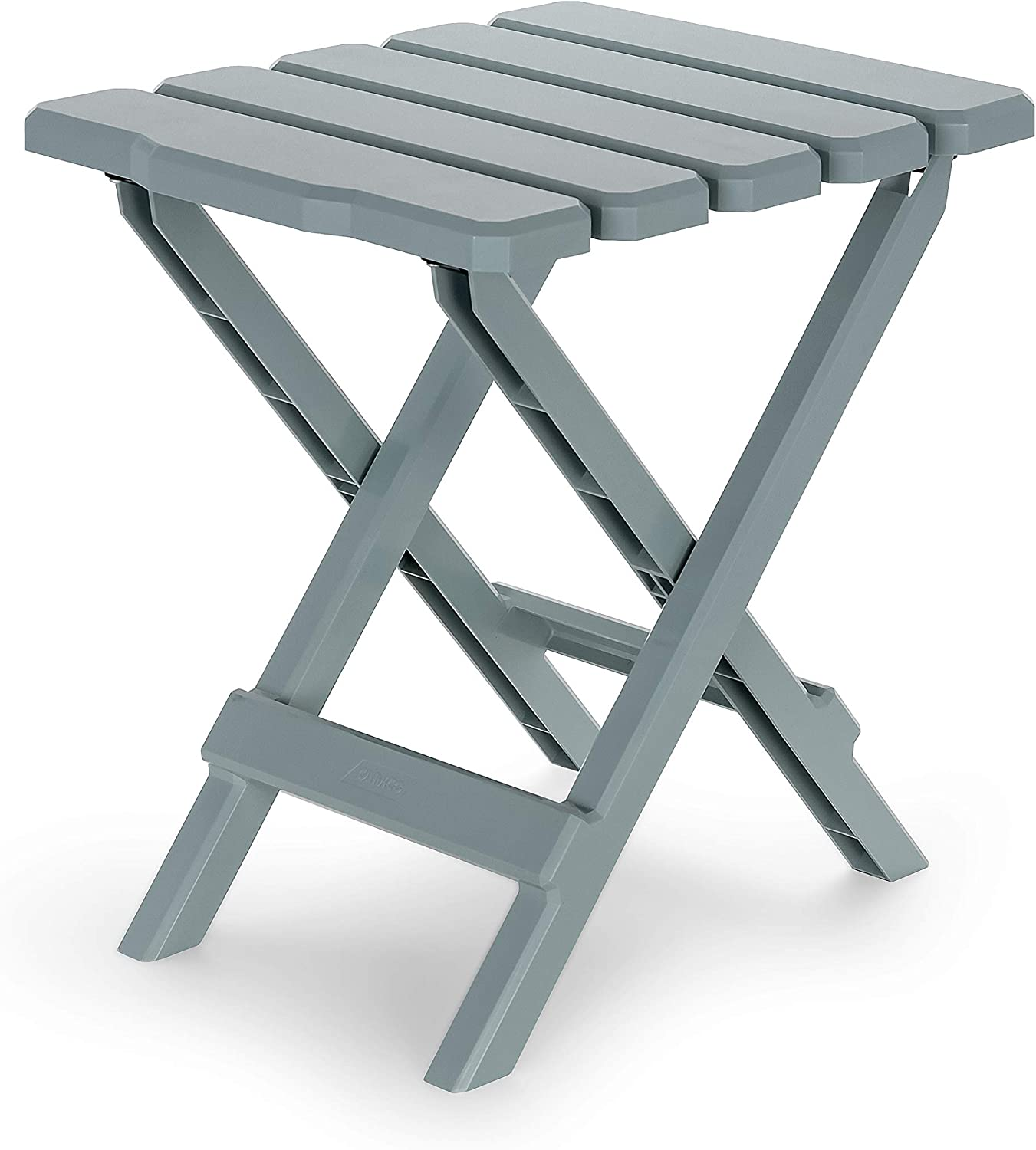 Camco Adirondack Portable Outdoor Folding Side Table - Perfect for The Beach, Camping, Picnics, Cookouts and More - Weatherproof and Rust Resistant - Gray (21032)