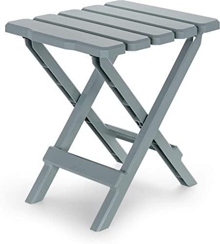 Camco Adirondack Portable Outdoor Folding Side Table – Perfect for The Beach, Camping, Picnics, Cookouts and More – Weatherproof and Rust Resistant – Gray 21032