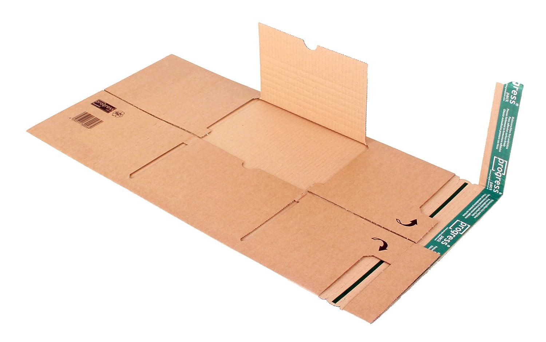 progressPACK PP B03.03 Premium Lot de 20 emballages d'expédition universels en carton ondulé double paroi Marron DIN A4 300 x 220 x à 95 mm