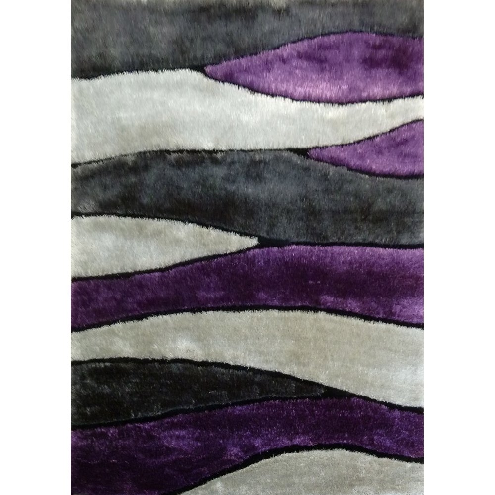 amazoncom gray purple shag area rug hand tufted size kitchen u0026 dining