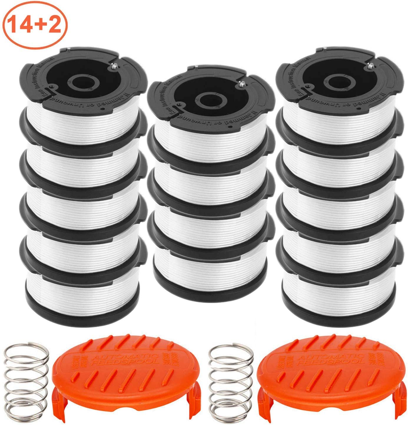 "RONGJU 16 Pack Weed Eater Replacement Parts for Black&Decker AF-100, 14 Pack 30ft 0.065"" String Trimmer Line Replacement Spools + 2 Pack RC-100-P Caps&Springs (14 Spools + 2 Caps + 2 Springs)"