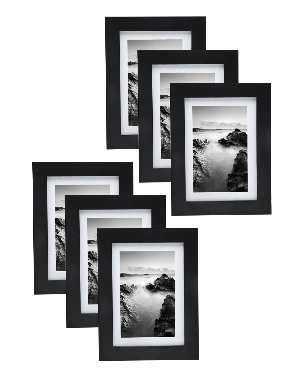 5x7 Wood Picture Frame Set- Display Photos 4x6 With Mat or 5x7 Without Mat - Set Of 6