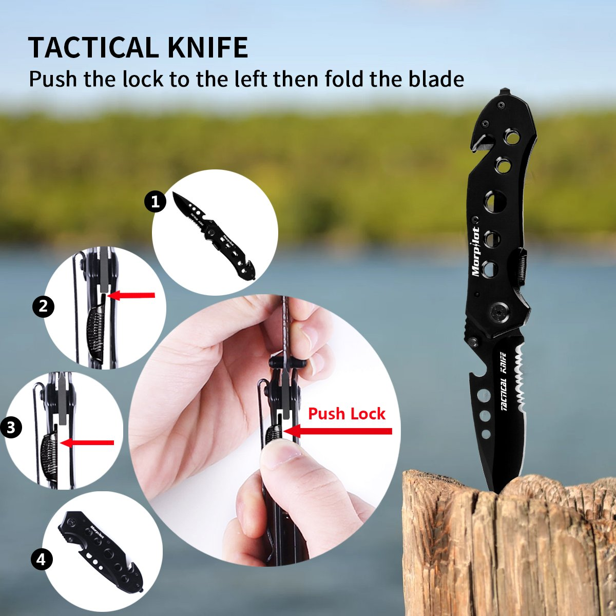 Multitool Knife & Flashlight Set Morpilot 5 in 1 Multi-Purpose Pocket Knife, 500LM 5Modes Portable Handheld Flashlight for Camping Hunting Backpacking Fishing Outdoor Survial,Ideal for gift