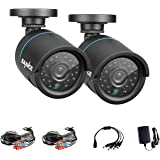 SANNCE Pack of 2 720P 1.0 Megapixel HD Weatherproof Day Night Vision CCTV Security Camera Systems, Fixed Bullet CCTV Camera