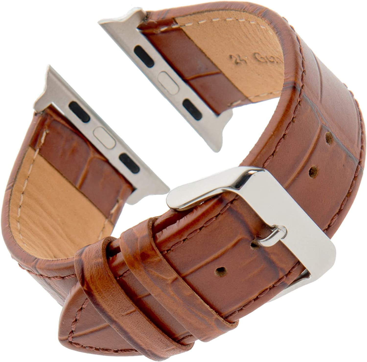 Gilden for Apple 38mm/40mm 42mm/44mm Gator-Grain Calfskin Leather Watch Strap F30-SMART