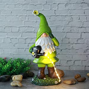 UAMSTYLE Garden Gnome Statue - Solar Decorations,Funny Outdoor Gnome Resin Statues Holding Watering Pot with Solar Outdoor LED Lights,Garden Green Gnomes Outdoor for Home Yard Art Decor 13 Inches Tall