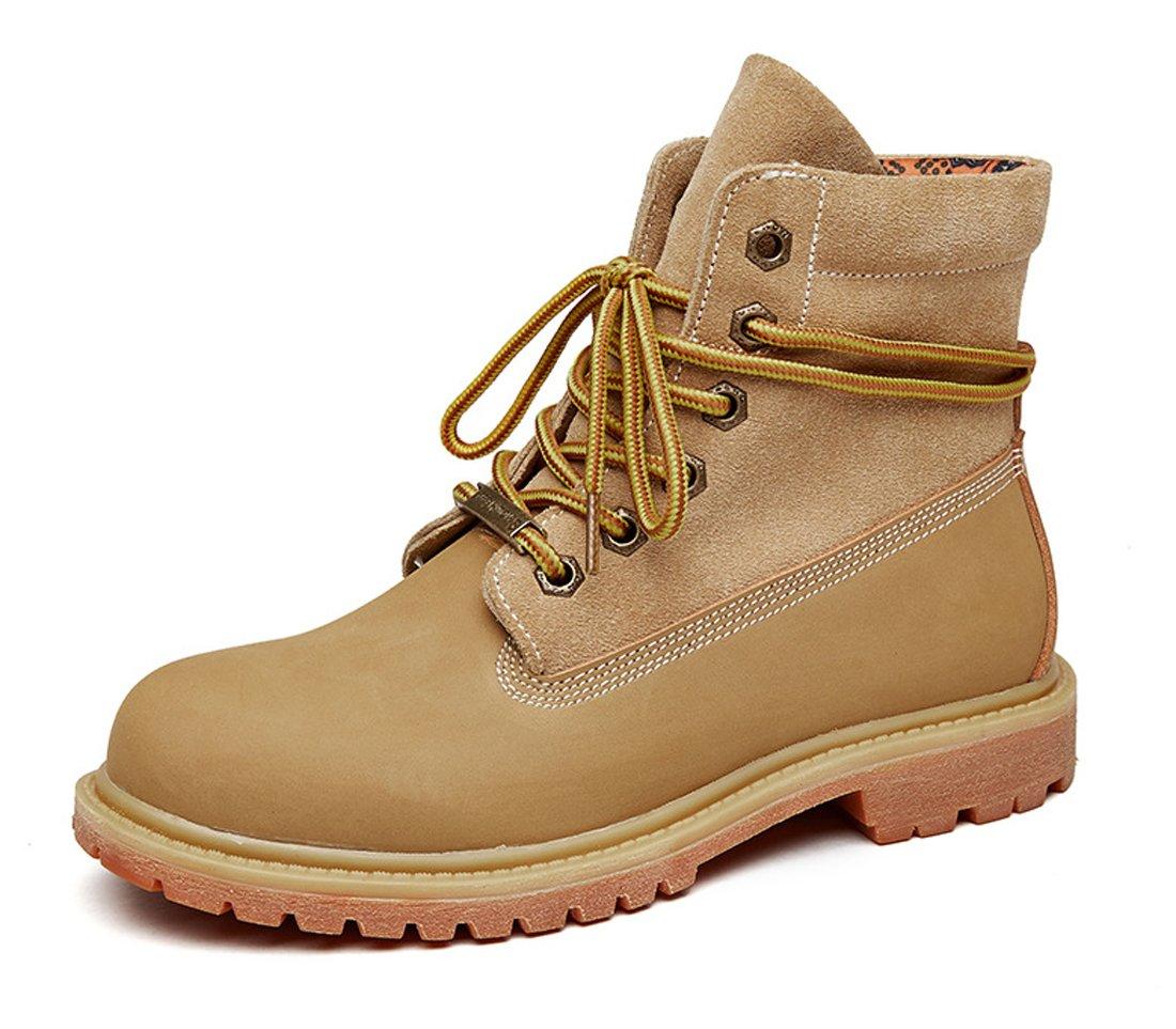 Honeystore Damen Desert Boots Leder Martin Stiefel Große Größe Leder Flache Boots Neue Populäre Frauen Stiefel Rosa 37 EU jQz4W3