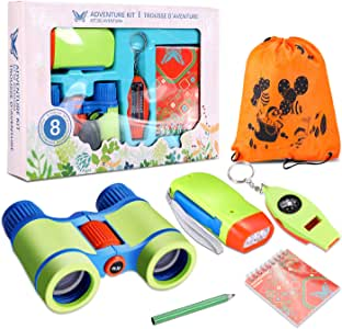 Outdoor Adventure Set for Kids, Exploration Kit Nature Adventure Outdoor Pack of 6, Children's Binoculars Flashlight Compass Magnifying Glass Whistle Notebook Pens Gift Set for Backyard Camping