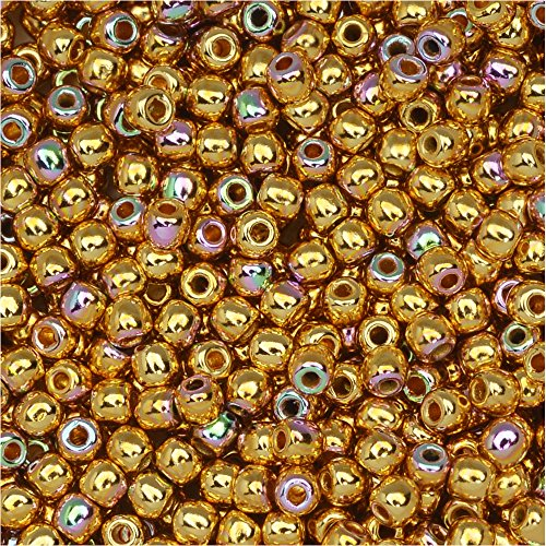 True2 Czech Glass, Round Druk Beads 2mm, 200 Pieces, 24K Gold Plated AB