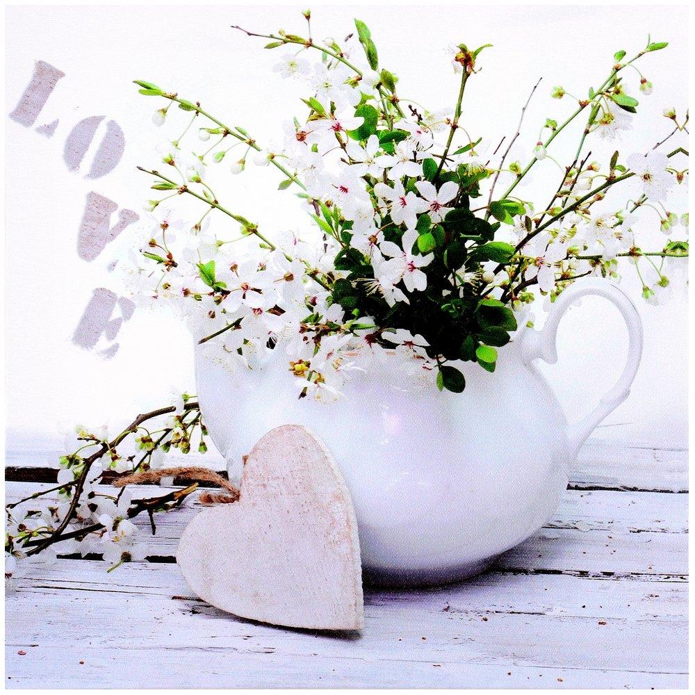Promobo Tableau Toile Cadre D Co Zen Fleur Coeur Inscription Love
