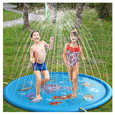 170Cm Kid Inflatable Splash Play Pool Fun Water Playing Sprinkler Mat Yard Outdoor Summer PVC Mini Round Spray Swimming Pool: Home & Kitchen