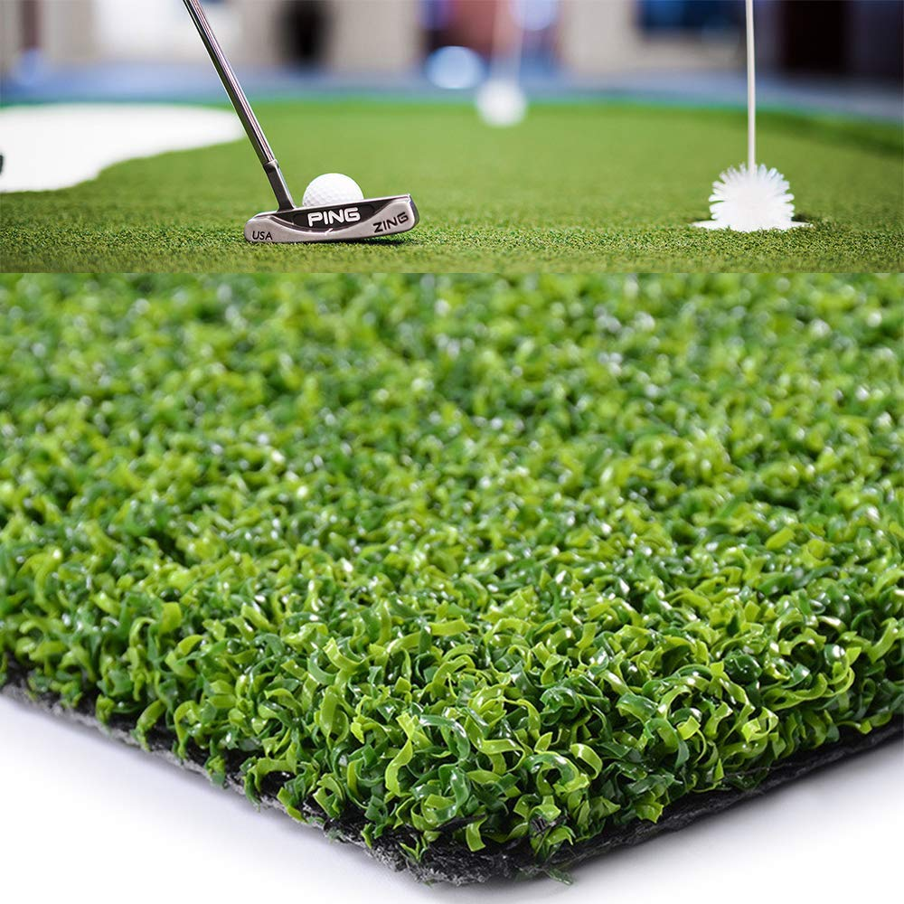 Golf Putting Green Mat-Golf Training Mat Sprot Baseball Football Artificial Grass- Green Long Challenging Putter for Indoor Outdoor