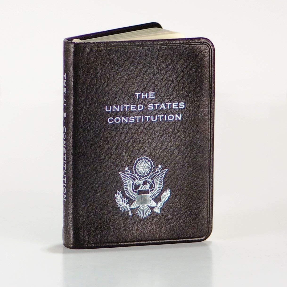 "Fine Keepsakes United States Constitution, Pocket Size, Genuine Leather, Embossed American Eagle, 2-3/4"" X 3-3/4"", Black"