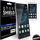 [Pack of 3] TECHGEAR® Huawei P9 Plus [ghostSHIELD Edition] Genuine Reinforced TPU Screen Protector Guard Covers with FULL Screen Coverage including Curved Screen Area [3D Curved Edges Protection]