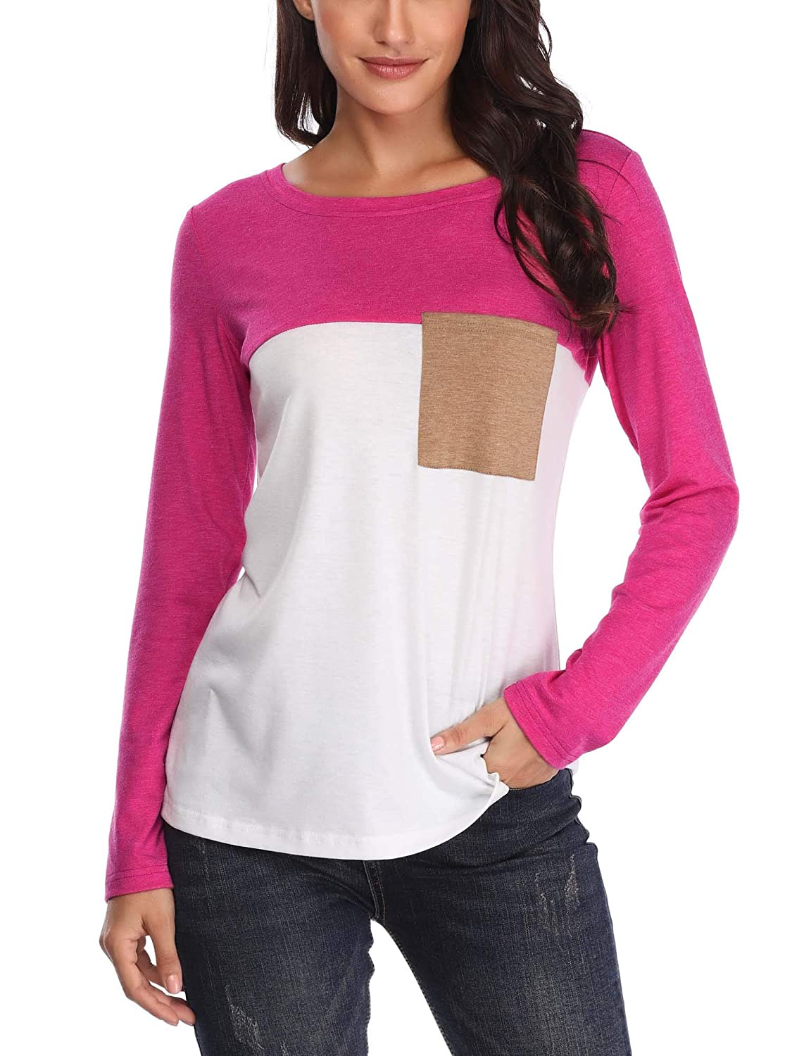 VETIOR Casual Round Neck T Shirt for Women Long Sleeve Trendy Top Hot Pink M