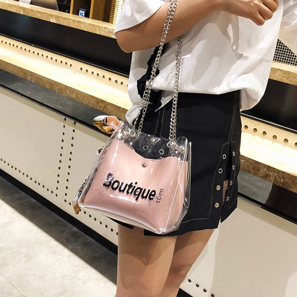 BingYELH Fashion Womens Waterproof Clear Handbag Top Handle Shoulder Bag Transparent Purse Clear Crossbody Handbags