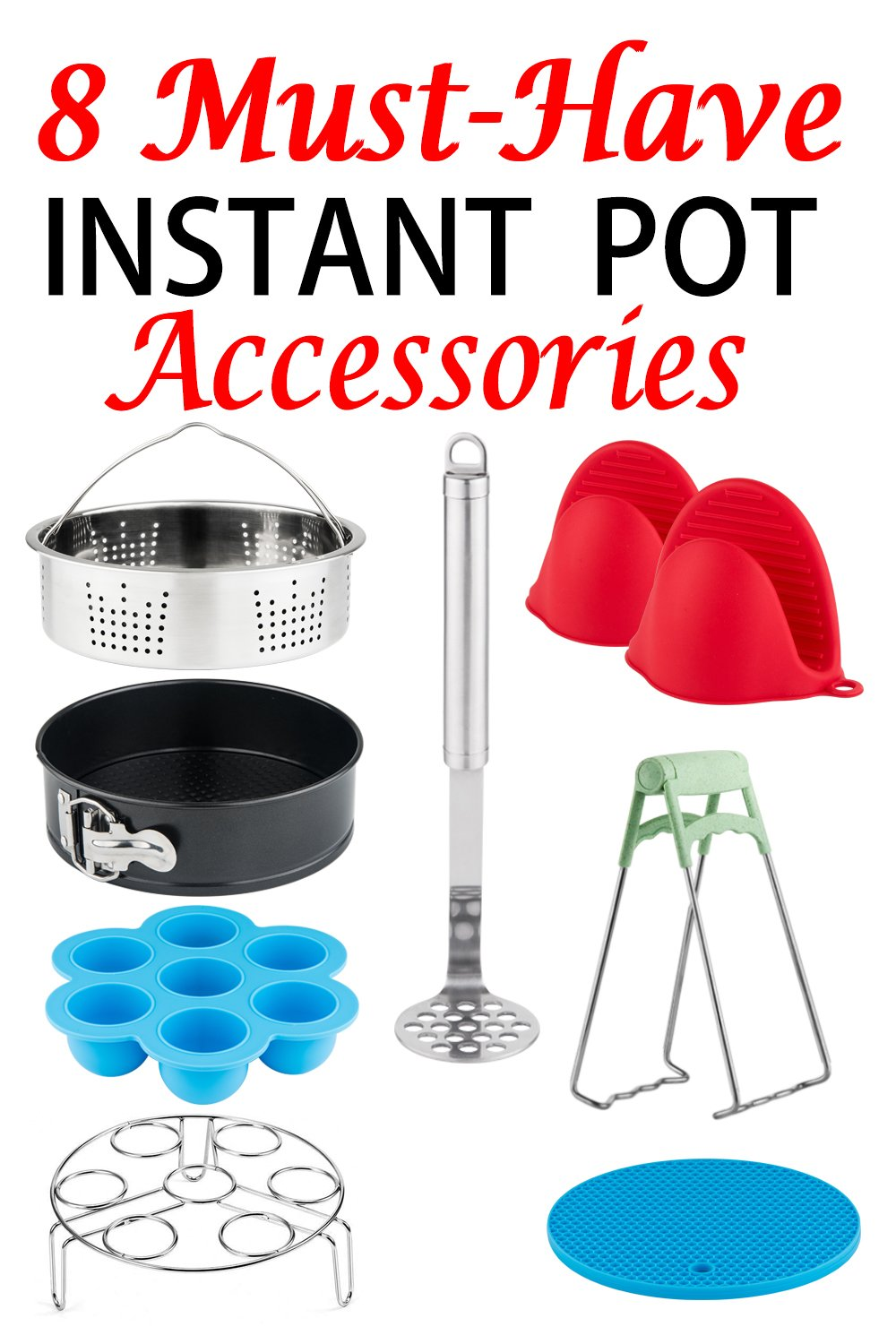 Instant Pot Accessories Set-Fits 5/6/8Qt Instant Pot Pressure Cooker, 8 Pcs Value Pack with Upgrade Steamer Basket/Egg Bites Mold/Egg Steamer Rack/7 Inch Non-Stick Springform Pan,Best Gift for Family