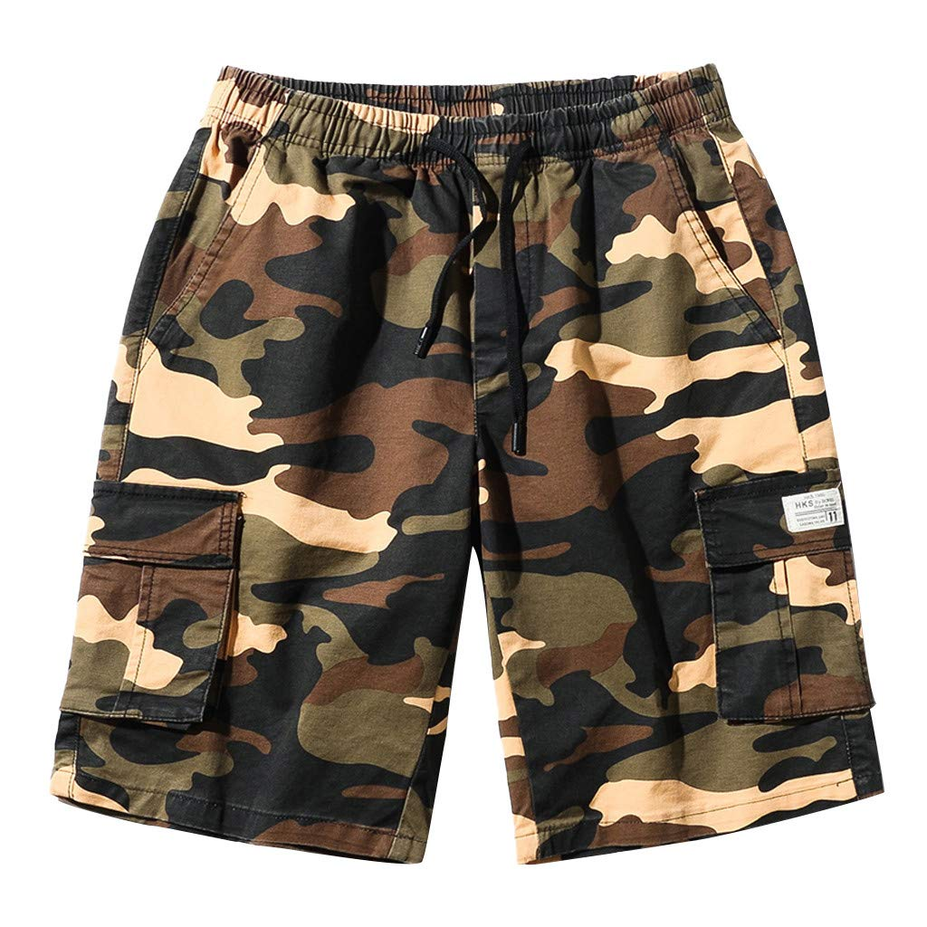 ♞Deadness Casual Shorts for Men Summer Big Pocket Camouflage Print Patchwork Trunks Drawstring Pants