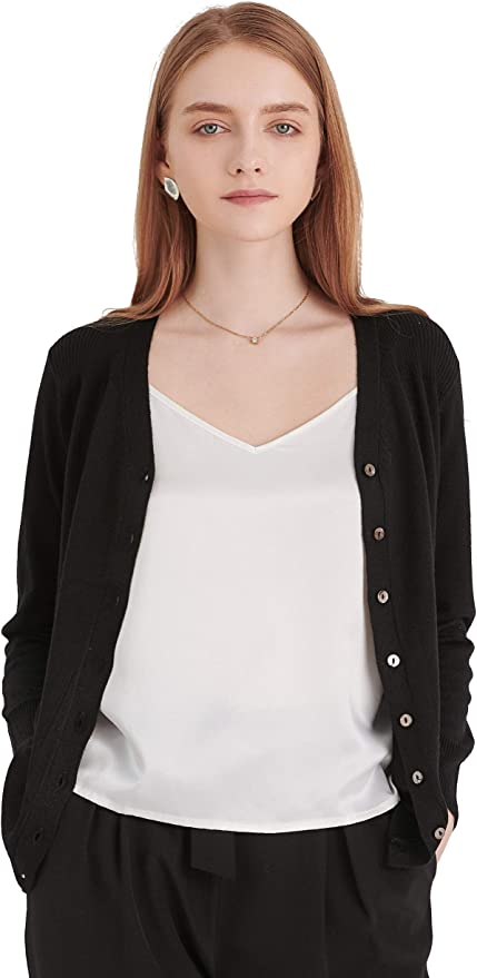 LilySilk Silk Cashmere Cardigan Essential V Neck Lightweight